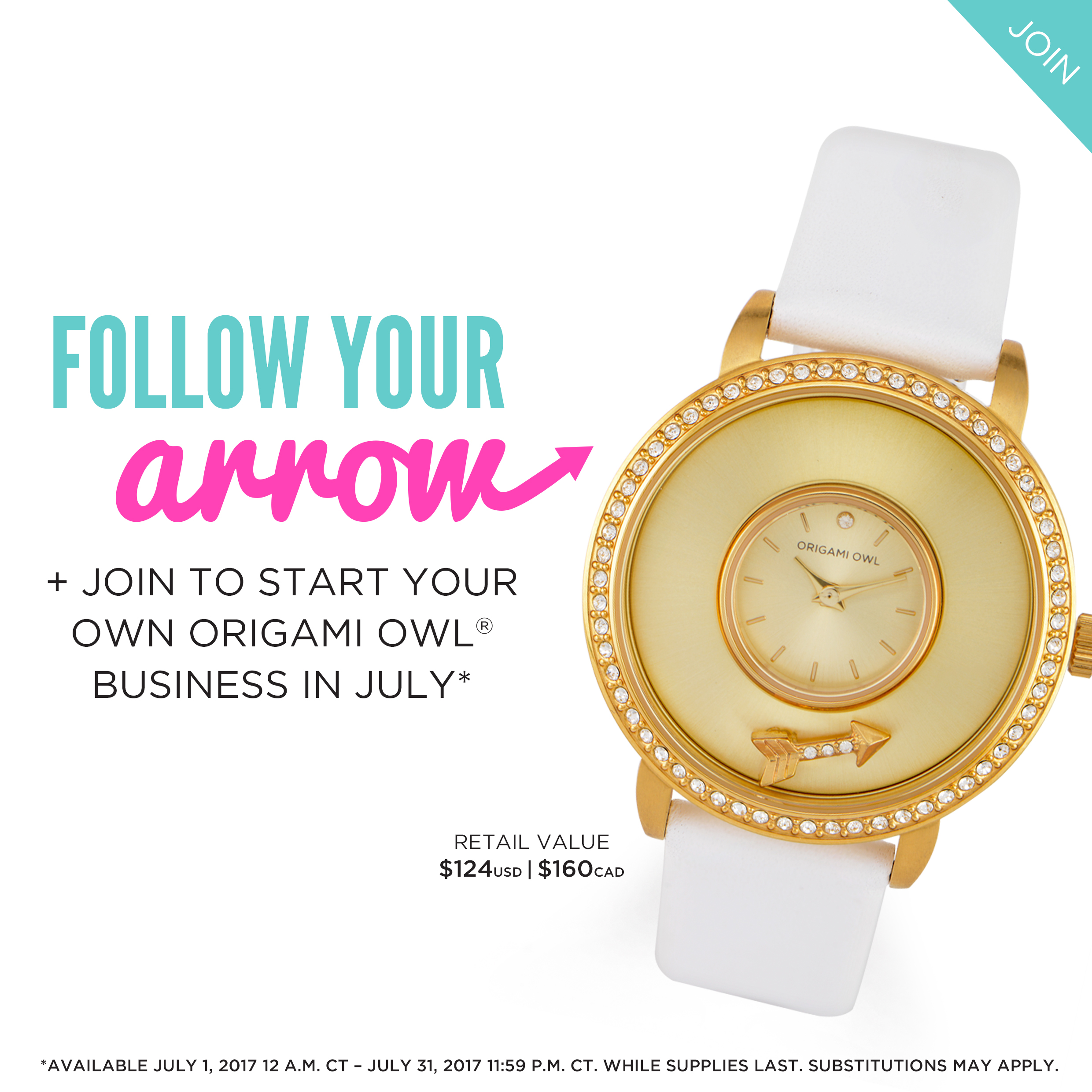 Origami Owl July 2017 Join Gift Gold Watch Locket Loaded With Charm