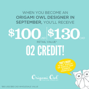 FREE O2 Credit for You when you join Origami Owl in September 2017!
